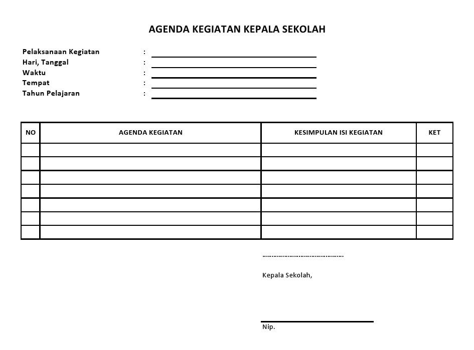 Buku Agenda Kegiatan Kepala Sekolah